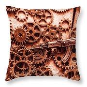 Guns Of Machine Mechanics Throw Pillow