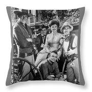 Gunsmoke Cast James Arness Amanda Blake And Burt Reynolds Throw Pillow