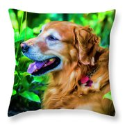 Gus In Flower Bed 10357t2a Throw Pillow