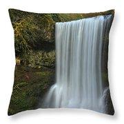 Gushing At Silver Falls Throw Pillow