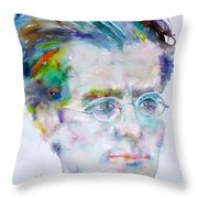 Gustav Mahler - Watercolor Portrait.3 Throw Pillow