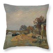 Gustave Loiseau 1865 - 1935 Marie Bridge In Paris Throw Pillow
