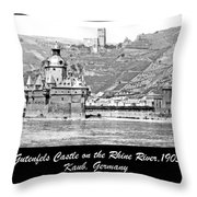 Gutenfels Castle On The Rhine, Kaub, Germany, 1903, Vintage Phot Throw Pillow