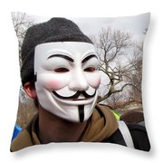 Guy Fawkes Mask At Political Demonstration Throw Pillow
