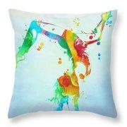 Gymnast Watercolor Paint Splatter Throw Pillow