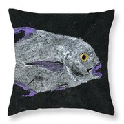Gyotaku African Pompano Throw Pillow by Captain Warren Sellers
