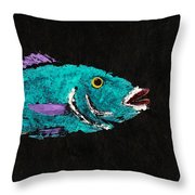 Gyotaku Hog Lipped Snapper Throw Pillow