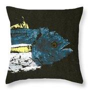 Gyotaku Yellowfin Tuna Throw Pillow