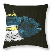 Gyotaku Yellowfin Tuna Throw Pillow