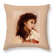 Gypsy Girl Throw Pillow by George Elgar Hicks