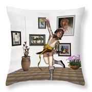 Digital Exhibartition _  Dancing Girl  Throw Pillow