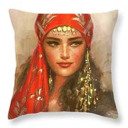Gypsy Girl Portrait Throw Pillow