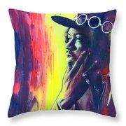 Gyspy Sun And Rainbows Throw Pillow