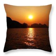Ha Long Bay Sunset Throw Pillow
