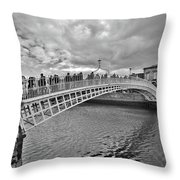 Ha' Penny Bridge In Black And White Throw Pillow