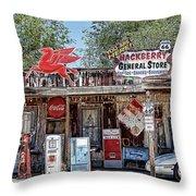 Hackberry General Store On Route 66, Arizona Throw Pillow