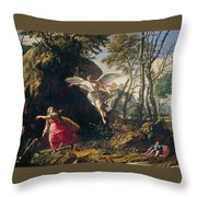 Hagar And Ishmael In The Wilderness Throw Pillow