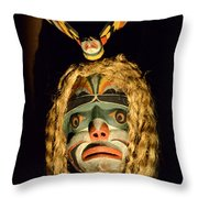 Haida Carved Wooden Mask 4 Throw Pillow