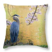 Haiku, Heron And Cherry Blossoms Throw Pillow