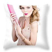 Hair Style Model. Pinup Girl With Large Pink Comb Throw Pillow