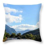 Hairpin Curve On Greek Mountain Road Throw Pillow