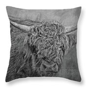 Hairy Highlander Bw Throw Pillow