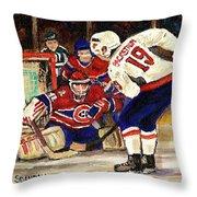 Halak Blocks Backstrom In Stanley Cup Playoffs 2010 Throw Pillow by Carole Spandau