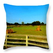 Hale Bales In Late Summer Throw Pillow