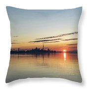 Half A Sunrise - Toronto Skyline From Across Silky Calm Lake Ontario Throw Pillow