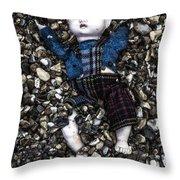 Half Buried Doll Throw Pillow