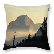 Half Dome And Fog At Olmsted Point In Yosemite Throw Pillow