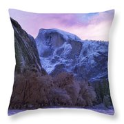 Half Dome Fall And Snow Throw Pillow