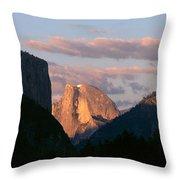 Half Dome Mountain At Sunset, Yosemite Throw Pillow