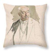 Half Length Study Of An Elderly Man In Evening Dress Throw Pillow