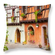 Half-timbered House Of Eguisheim, Alsace, France.  Throw Pillow