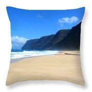 Hali Pale Beach  Kauai  Hawaii Throw Pillow
