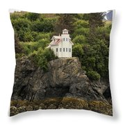 Halibut Cove Lighthouse Throw Pillow