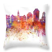 Halifax V2 Skyline In Watercolor Background Throw Pillow