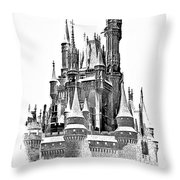 Hall Of The Snow King Monochrome Throw Pillow
