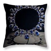 Hall Sapphire And Diamond Necklace Throw Pillow
