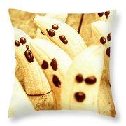 Halloween Banana Ghosts Throw Pillow