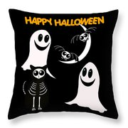 Halloween Bats Ghosts And Cat Throw Pillow