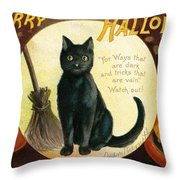 Halloween Greetings With Black Cat And Carved Pumpkins Throw Pillow