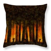 Halloween Horror Zombie Rampage Throw Pillow