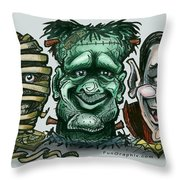Halloween Monsters Throw Pillow