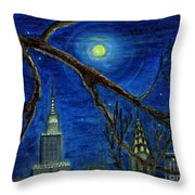 Halloween Night Over New York City Throw Pillow by Anna Folkartanna Maciejewska-Dyba