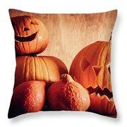 Halloween Pumpkins, Carved Jack-o-lantern. Throw Pillow