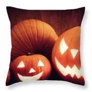 Halloween Pumpkins Glowing, Jack-o-lantern Throw Pillow