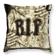 Halloween Rip Rest In Peace Headstone Throw Pillow