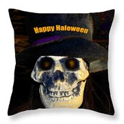 Halloween Skull With Hat Throw Pillow